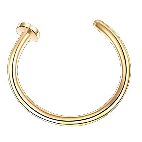 heqian anillo de aro falso Piercing de nariz anillo de nariz 0.8 mm x 8 mm Gold 0.8 * 8mm