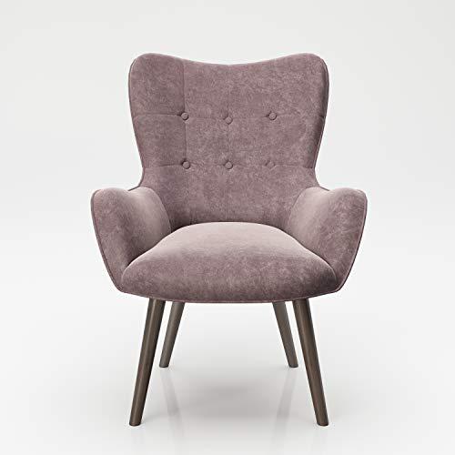 PLAYBOY Sessel mit Massivholzfüssen, Samt in Rosa/Rose Quartz, Bestickung und Keder, Samtbezug, Retro-Design für Wohnzimmer, Schlafzimmer, Lounge oder Lesebereich, Ohrensessel