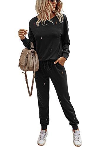PRETTYGARDEN Women's Tie Dye Two Piece Pajamas Set Long Sleeve Sweatshirt with Long Pants Sleepwear with Pockets Solid-Black
