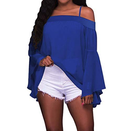 Haut Chic, YUYOUG Mode Femme Solide Chemises à Manches Longues évasées Spaghetti Strap Camis Chemisier Mousseline de Soie T-Shirts à épaules dénudées (XL, Blue)
