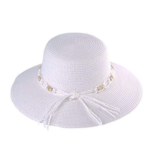 Pamela Mujer Verano de Paja de ala Ancha con Lazo Sombrero para Sol Playa Viaje Vacación (lu-115-blanco, 56cm)