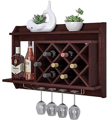 NBVCX Pièces de Machines Casier à vin Casier à vin Mural en Bois Massif pour Bouteilles de vin et Verres à Pied Armoire à vin Salon Simple Rack Porte-vin (Couleur: Brun foncé)
