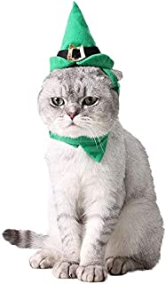 Aaedrag Verde puntero sombrero verde sombrero del duende del animal doméstico y el collar del gato y del perro casero perro gorra sombrero de la Navidad Conjunto de baile del gato de Navidad de vestir