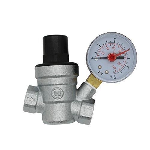 DN15 DN20 Valvola riduttore di pressione acqua valvola cromata regolatore pressione acqua con manometro acqua 1/2 3/4 pollice indicatore (DN15)