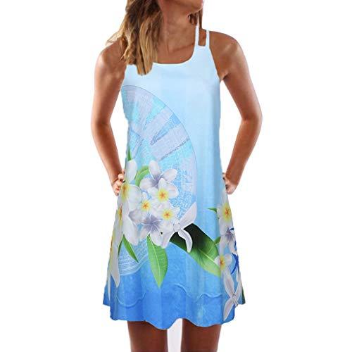 HIRIRI Vintage Boho Women Mini Dress Summer Sleeveless Printed Casual T-Shirt Short A-Line Beach Sundress Blue