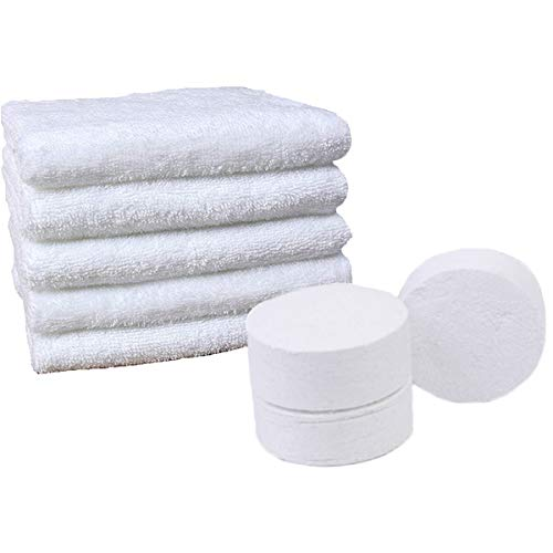 OBTANIM Large Compressed Towel Travel Disposable Towels Tablets, 100% Cotton Towel for Camping, Sports, Hiking, Set of 5