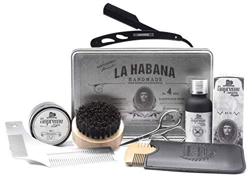 Bartpflege Set Tabak Vanille mit Rasiermesser für Männer Havanna Duft Original Bartstoppel© Hochwertig Geschenk
