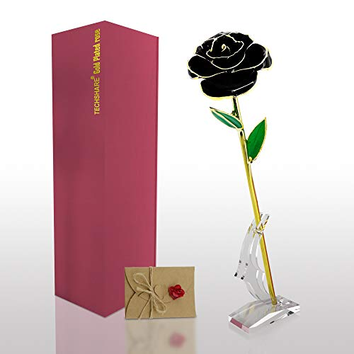 TECHSHARE 24K Gold Dipped Rose, Black Real Rose Forever Special for Her/Mother's Day/Birthday/Valentine's Day/Proposal Wedding - with Acrylic Stand