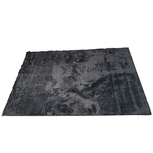 スミノエ(Suminoe) オーダーラグ ブラック 幅200cm ×長さ205cm ソフトタッチフェイクファー 防ダニ 防炎