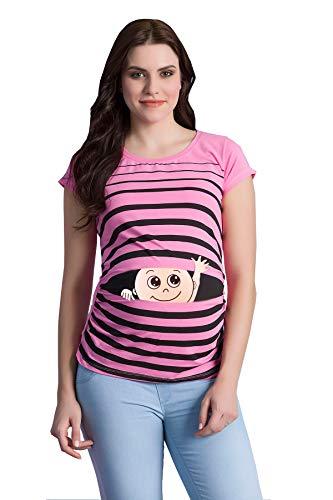 M.M.C. Winke Winke Baby - Lustige witzige süße Umstandsmode gestreiftes Umstandsshirt mit Motiv für die Schwangerschaft Schwangerschaftsshirt, Kurzarm (Rosa, Large)