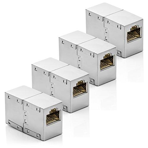 deleyCON CAT6 RJ45 Kupplung Verbinder Netzwerkkabel Patchkabel Ethernetkabel Adapter Modular Geschirmt 2X RJ45 Buchse DSL LAN RJ45 4 Stück