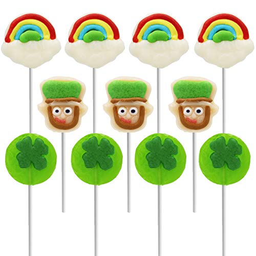 St. Patrick's Day Lollipops, Leprechaun, Green Shamrock, and Rainbow Lollipop Suckers, Party Favor Box, Individually Wrapped (12-Pack)