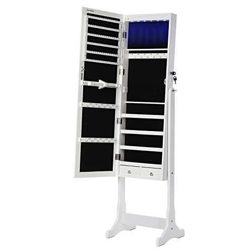 SONGMICS LED Beleuchtung Schmuckschrank, mit Spiegel, 5 Ablagen und 2 kleinen Schubladen, abschließbar JBC94W