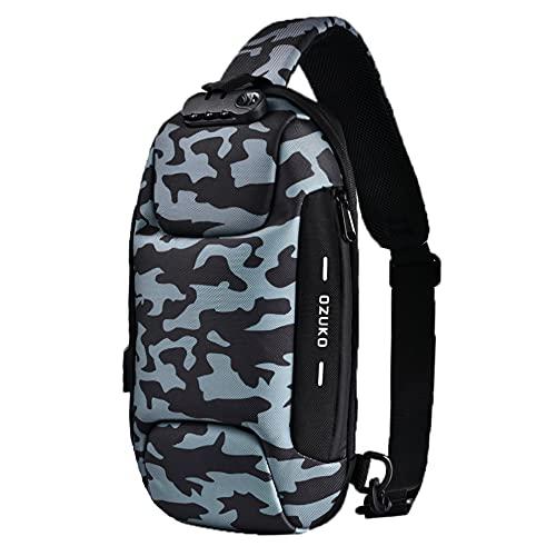 H HIKKER-LINK Bandolera con bolsillo en el pecho, bandolera, mochila antirrobo, con USB, para senderismo, trabajo, escuela, gris oscuro, Medium