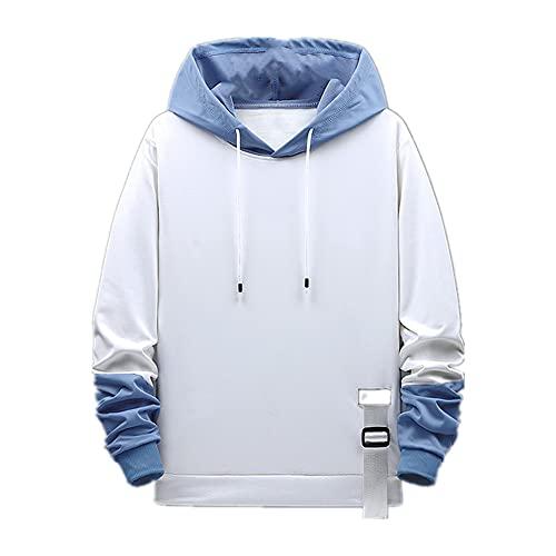 Frühling Herren Schwarz Patchwork Hoodie Männer Sweatshirt Streetwear Gr. XXL, weiß