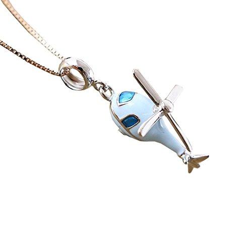 BBYaki Hommes / Femmes 925 Anneaux De Bande Dessinée En Argent Sterling Pendentif Bleu / Blanc / Hélicoptère , Blue