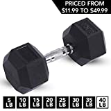 Day 1 Fitness Rubber Hex Dumbbell Shaped Heads to Prevent Rolling and Injury -...
