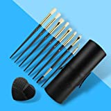 CJP Beauty Eye Makeup Brushes 10 pcs - Certified Vegan-friendly And Cruelty-free - Soft Synthetic Hairs With Wooden Handle - Best For Liquid, Powder, Cream And Gel Formulas