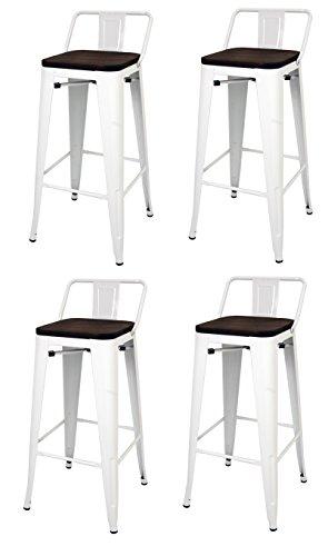 Pack 4 Taburetes estilo Tolix con respaldo y asiento acabado en madera. Color Blanco. Medidas 95x43x43