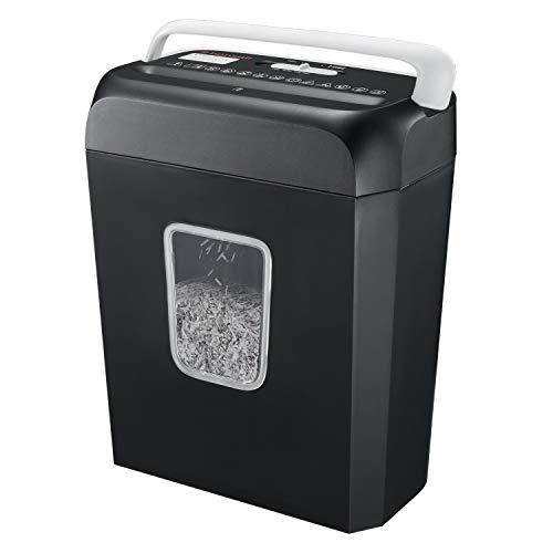 Bonsaii Aktenvernichter, 6-Blatt Kreuzschnitt, für Papier and Kreditkarten, Papierschredder für Privatanwender und kleine Büros, Tragbares Griffdesign mit 13L Papierkorb (C237-B)