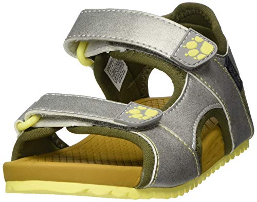 Jack Wolfskin Unisexs Outfresh Deluxe sandaal K Sports, 14 UK, Zilver Zilver Khaki 6725, 29.5 EU
