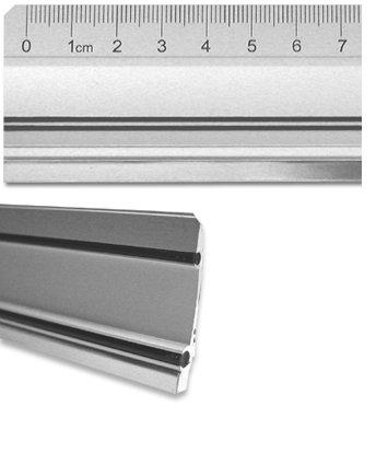 Aluminiumlineal mit Stahlkante 50cm, ideal für Werbung, Werkstatt, Büro, Montage, Hobby, Schule, Haushalt