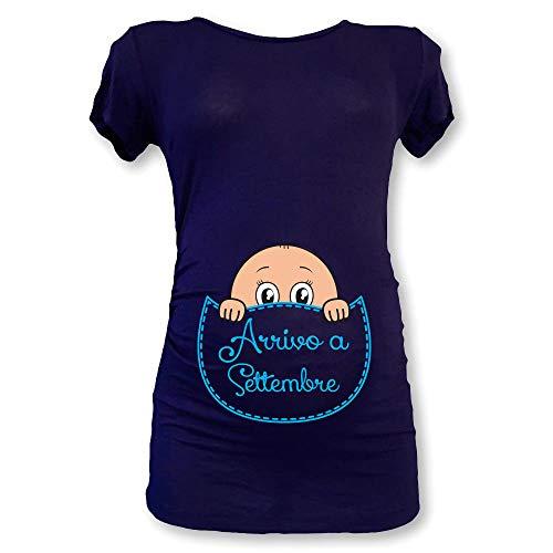 T Shirt Maglia Premaman in Arrivo a Settembre Blu Maschietto M Manica Corta