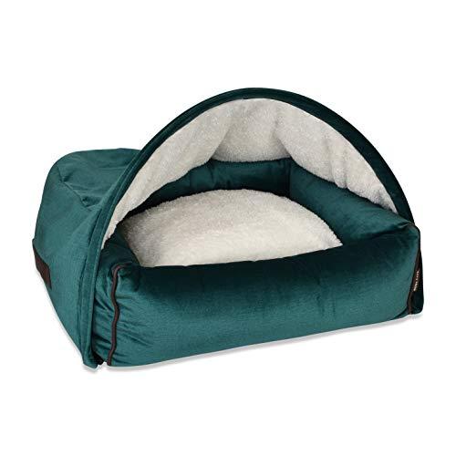 KONA CAVE - Snuggle - Cama de lujo para perro con cubierta de cueva con cremallera (2 camas en uno) - Diseño protegido de patente (terciopelo mediano, verde esmeralda)