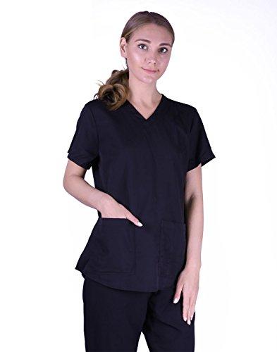 HDE Womens Scrub Top Medical Uniform V-Neck Shirt With Shirring Back (White, Large)