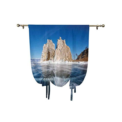 Winter Tie Up Shades Panels,Frozen Lake Baikal in Siberia with Icicles Scenic Nature Surface Structure Cold Climate Decorative Adjustable Balloon Curtain Shade,24x47 Inch,for Small Window/Kitchen