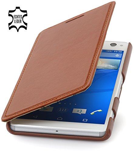 StilGut Book Type Hülle ohne Clip, Hülle aus Leder für Sony Xperia C4, Cognac