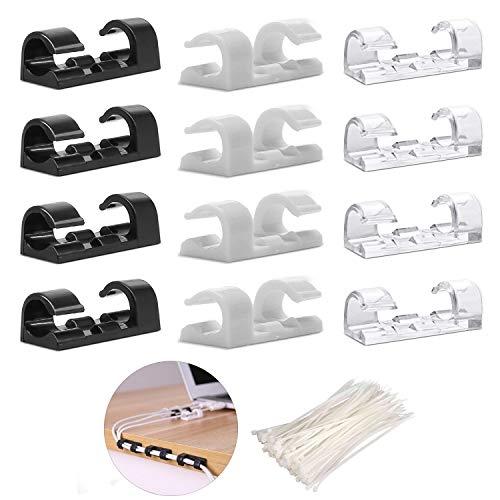 160pcsCables Holder -60 Clips de Cable clips autoadhesivos para cables + 100 bridas de nailon para sujetar cables
