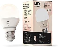 LIFX biała (E27), 800 lumenów, inteligentna żarówka LED Wi-Fi, ciepła biel, możliwość przyciemniania, bez konieczności...