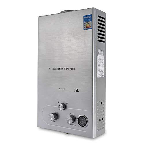 32 KW 16L Gaswarmwasserbereiter Erdgas-Warmwasserbereiter aus Edelstahl Sofortiger Edelstahlkessel Tankless Erdgas Warmwasserbereiter mit Duschset