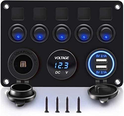 X-Crystal Panel de interruptores basculantes de 5 pandillas con Doble Ranura para USB 5V 4.2A + Encendedor de Cigarrillos + voltímetro para Marine Boat Car RV Vehículos Camión 12-24V LED