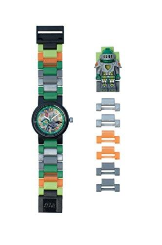 LEGO Nexo Knights 8020523 Aaron Kinder-Armbanduhr mit Minifigur und Gliederarmband zum Zusammenbauen, grün/orange, Kunststoff, Gehäusedurchmesser 28 mm, analoge Quarzuhr, Junge/Mädchen, offiziell