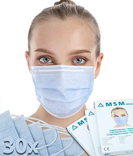 MSM Mund und Nasenschutz Maske - Medizinische Maske mit Maskenhalter Typ II 98% BFE Mundschutz Maske 3-lagige Einwegmasken Atemschutzmaske 30 Stück blau