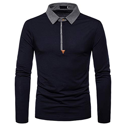 Xmiral Herren Sweatshirt Casual Slim Print Langarm Umlegekragen Plain Polo Shirt (L, Y Marine Blau)