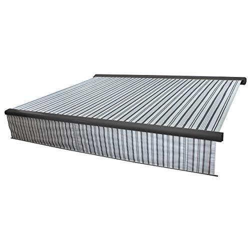 Mendler Elektrische Vollkassetten-Markise T124, 5x3m ausfahrbarer Volant ~ Polyester Grau/Weiß, anthrazit