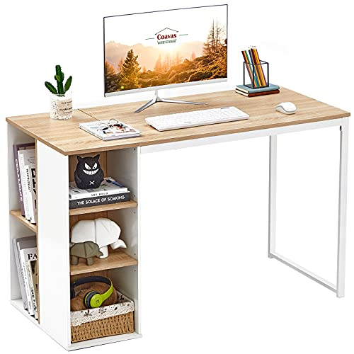 """Computer Desk with Storage Shelves 47"""" White Office Desk with Drawers Small Kids Writing Desk..."""