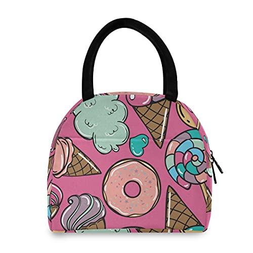 Candy Donuts Sweet Icecream Bolsa de almuerzo Bolsa térmica Bolsa de almuerzo aislada para mujer
