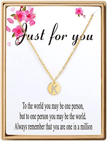 SANNYRA Disc Initial Necklaces for Women 18K Real Gold Plated Letters A to Z 26 Alphabet Disc Pendant Necklace Jewelry Gift