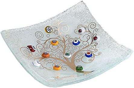 SOSPIRI VENEZIA Placa DE Cristal Murano Cuadrado Árbol de la Vida 10 x 10 cm, técnica de fusión de Vidrio y Uso de Decoraciones de Murano. En su Elegante Caja litografiada. Made in Venice, Italy