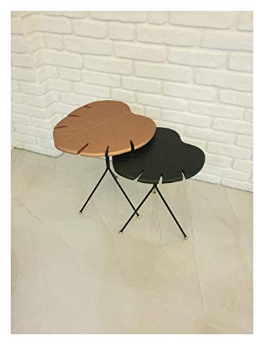 N/Z Daily Equipment Home Side Table Furniture Leaf Design Coffee Table Living Room Small Table Design End Table Sofaside Small Desk End Table (Color : Black and Bronze 2 pcs)