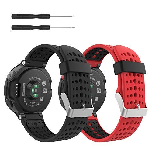 MoKo [2 pezzi] Cinturino Compatibile con Forerunner 235, Morbido Bracciale di Ricambio in Silicone Compatibile con Forerunner 220/230/235/620/630/735 Smart Watch, Nero+Nero & Rosso+Nero