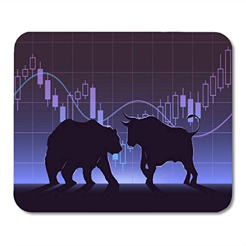 Adowyee Gaming Mouse Pad Blue Stock Exchange Trading Bulls Bears 9.5'x7.9' Non-Slip Rubber Backing Computer Mousepad for Notebooks Mouse Mats