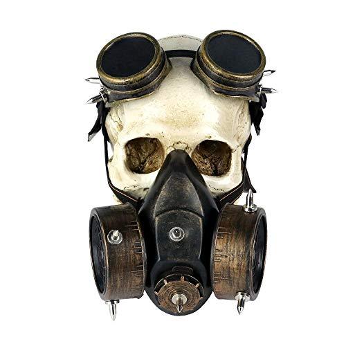 Yuan Ou Mscara Halloween Mscara de Gas con Remaches + respirador de Gafas, Casco gtico ciberntico, Disfraz de Halloween para Hombres, Mujeres, mscaras de Picos, Fiesta marrn