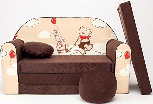 Pro Cosmo K26-Divano letto Futon con pouf/poggiapiedi/cuscino, marrone, Tessuto, 168 x 98 x 60 cm