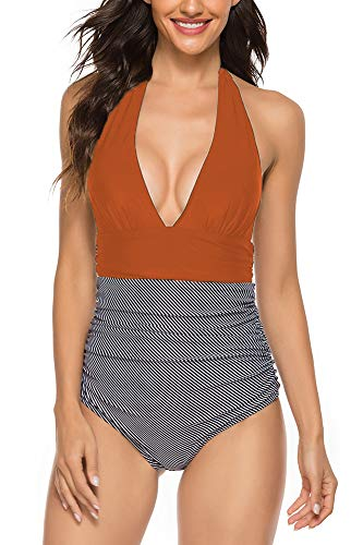 Halter Swimsuits for Women One Piece High Waisted Striped Monokini Swimsuit (XL, 02 Caramel)