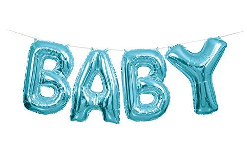 Unique Party 53686 - Foil Blue Baby Letter Balloon Banner Kit